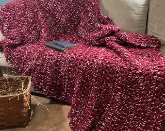 Frosted Cranberry Soft Blanket Afghan Large Crochet Throw Handmade Rustic Bedroom Sofa Rustic Cabin Farmhouse Country Heavy