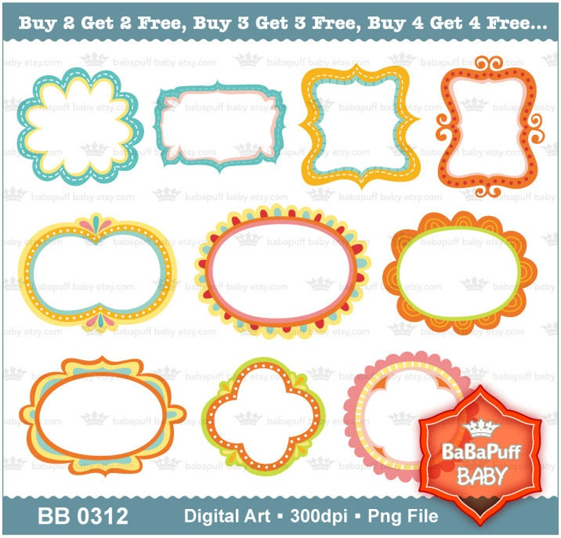 Buy 2 Get 2 Free ---- 10 Doodles Frames ---- Personal and Small Commercial  Use ---- BB 0312