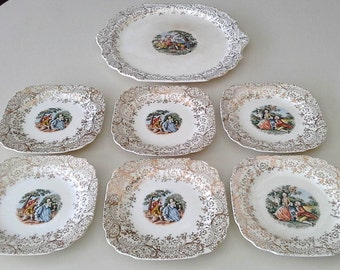 7 Pc 22k Gold Overlay Antique Eastern China Square Plates - Colonial Couple (USA)