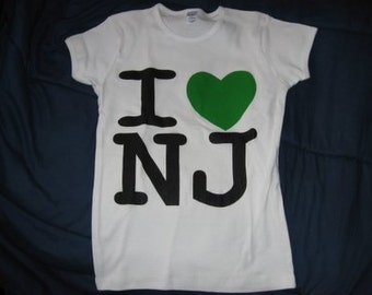 I Love NJ Lady T-Shirt Inspired by New Jersey Shore, Jerseylicious, Housewives, Snookie, The Situation Baby Heart Tee