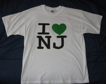 I Love NJ T-Shirt Inspired by New Jersey Shore, Jerseylicious, Housewives, Snookie, The Situation Heart