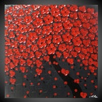 """Tree painting Red flower painting abstract painting acrylic painting wall art paintings red painting grey art 24"""" - 90"""" MADE2ORDER by ilonka"""