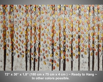 Large Painting on Canvas, Abstract Acrylic Painting Home decor wall art Birch Trees Gold Silver Copper Metallic small paintings by ilonka