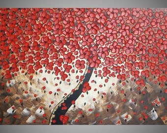 tree painting red flower art wall art acrylic painting large canvas art paintings abstract art home decor wall art choose a size by ilonka