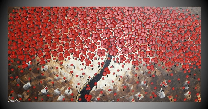 tree painting red flower art wall art acrylic painting large 48 x 24 x 0,8 inches