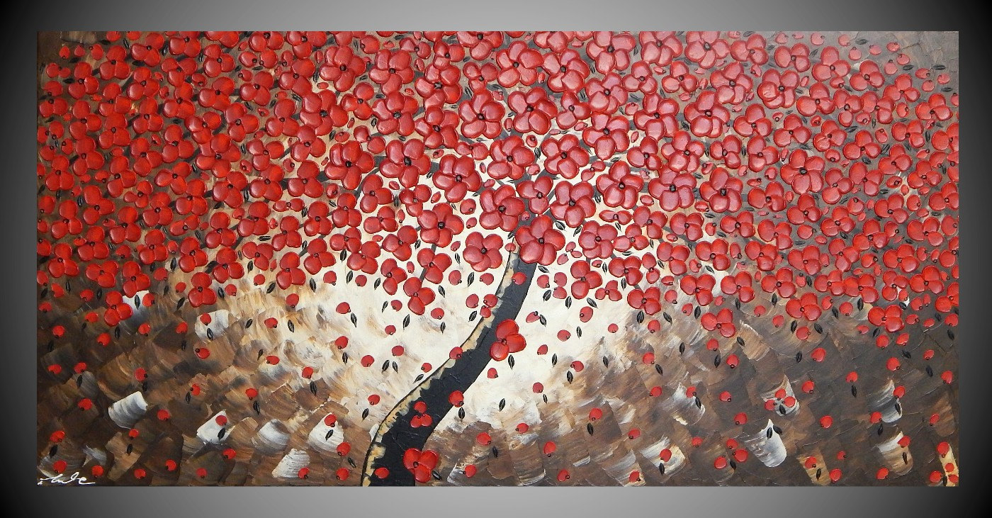 Painting tree painting red flower art wall art acrylic painting large canvas art paintings abstract art wall decor choose a size by ilonka