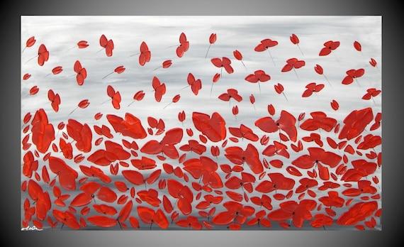 Acrylbilder Gemälde Malerei Mohn Blumen Schwarz Weiß Rot