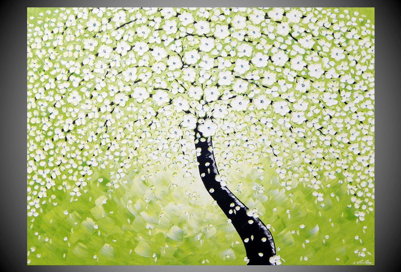 Tree Painting in Olive Abstract Acrylic Art on large Canvas Gift ...