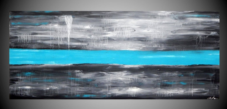 """paintings on canvas acrylic painting abstract home decor wall 55 x 24"""" / 140x 60cm"""