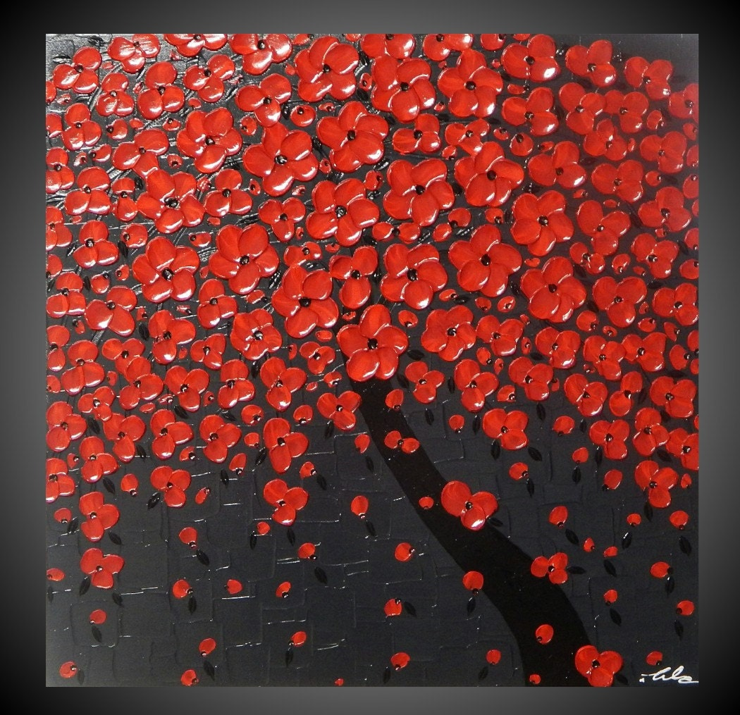 Tree painting red flower painting abstract painting acrylic painting wall art paintings red painting grey art 24 90 made2order by ilonka