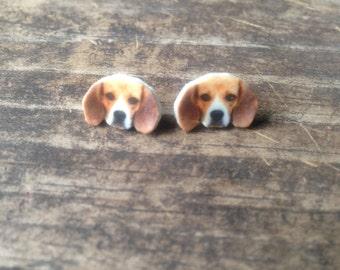 Beagle dog earrings jewelry pet animal post stud