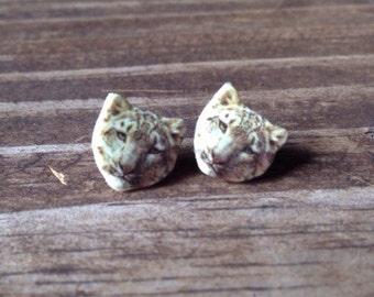 Snow leopard earrings jewelry big cat white stud post