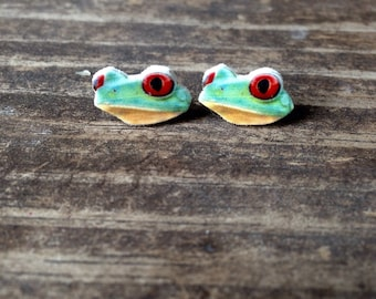 Red eyed tree frog earrings jewelry stud post amphibian