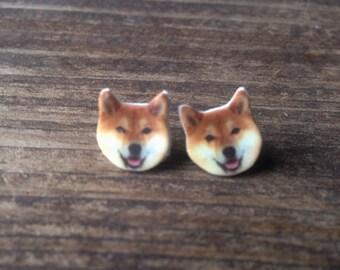 Shiba inu dog earrings jewelry pet post stud hypoallergenic