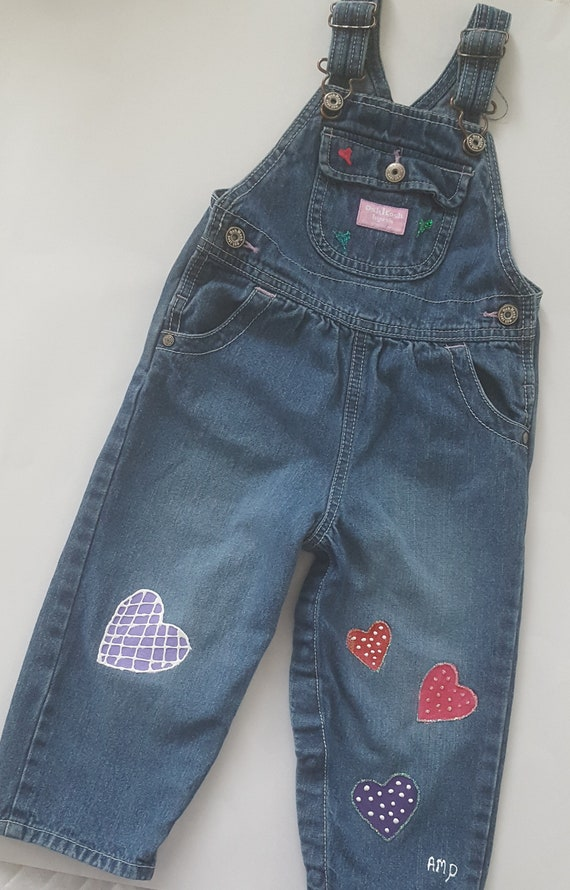 d2042e7a5 Girl s Denim Overalls Upcycled for Valentine s Day