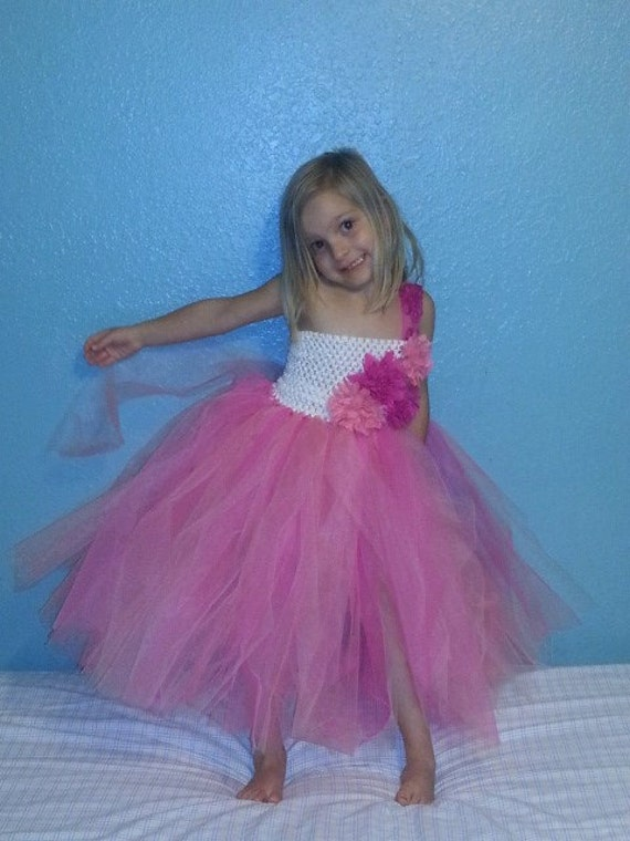 Purple Salmon Flower Girl Dress