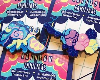 Rainbow Familiar Pins - Set 2 | anime pins space friendship wooden snail cute lemon wand gift decora moon fruit moth witchy flower dango