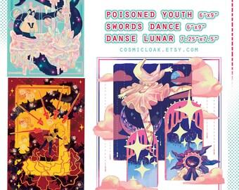 Melancholy Dreams Art Print Set | matte print | surreal art | flower art | night sky art | fairy kei | art gift | home decor | dreamy pastel