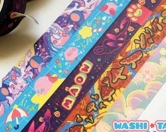 Washi Tape Stationary | kawaii sakura gift animal kirby space pastel goth rainbow fairy kei witchy snake cats mermaid anime aesthetic mom