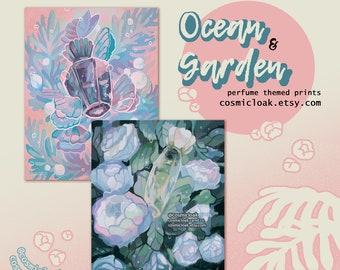 Ocean & Garden Perfume Print | nature dreamy  art office decor aesthetic mom gift mother friendship garden cottagecore beach marmaid school
