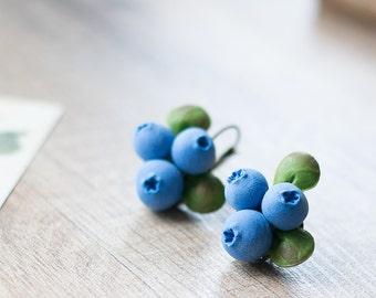 Woodland earrings - woodland jewellery - blueberry earrings - forest blueberry jewelry - rustic, forest wedding - nature inspired earrings