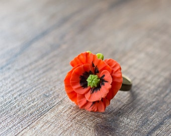 Red poppy ring - flower ring - flower jewelry - botanical jewelry - blossom ring - red ring - poppy flower - nature ring - garden wedding