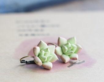Succulent earrings - green botanical earrings - nature inspired earrings - plant tropical jewelry - succulent jewelry - terrarium earrings