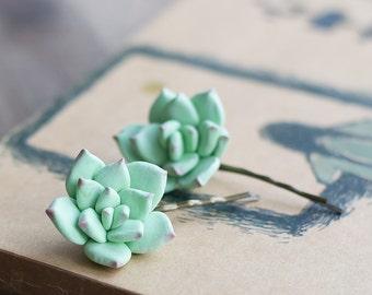 Succulent hair piece - hair accessories - floral hair pins - succulent wedding - flower bobby pins - floral hairpiece - mint hair clips