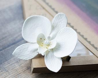 White orchid clip - flower girl hair clip - white hair clip - wedding hair clip - bridal flower headpiece - hair jewelry - bridal hair clip