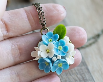 Floral pendant - flower jewelry - forest necklace - floral jewelry - porcelain jewelry - flower pendant, forget-me-not, white lilac, berries