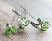 Snowdrop hair pins - flower hair pins - white hair accessories - wedding flower pins - bridal hairpiece - white flowers - flower for hair