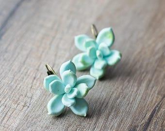 Succulent earrings - succulent jewelry - mint botanical earrings - tropical jewelry - nature inspired earrings - porcelain earrings