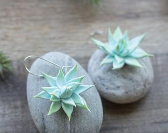 Succulent earrings - mint botanical earrings - pastel jewelry - tropical jewelry - succulent jewelry - nature inspired earrings