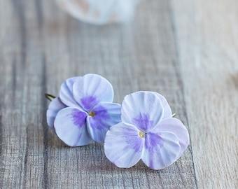 Purple earrings - pansy jewelry - flower earrings - viola flower jewelry - botanical jewelry - blossom earrings - garden jewelry - summer