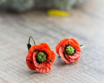 Red poppy earrings - flower earrings - flower jewelry - botanical jewelry - blossom earrings - red earrings - poppy flower - nature earrings