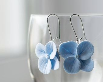 Blue flower earrings - blue jewelry - flower jewelry - hydrangea earrings - floral earrings - botanical nature inspired earrings, garden