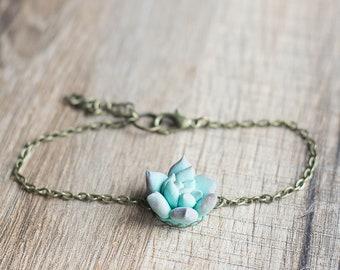 Mint succulent bracelet - succulent jewelry - terrarium jewelry - floral jewelry - minimal bracelet - nature inspired jewelry - botanical