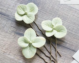 Hydrangea wedding hair pins - hydrangea accessories - hydrangea bridal flower hair pins - hydrangea hair pins - green and gold hairpiece