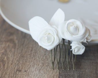 0c5cd97c9 White rose hair comb - wedding hair accessories - white bridal hairpiece -  bridal flower comb - rose hair piece - rose hair accessories