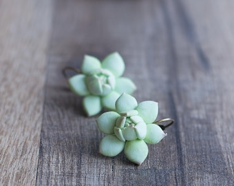 Nature inspired earrings - succulent earrings - plant earrings - sculptural earrings - terrarium earrings - succulent jewelry