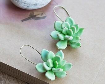 Nature earrings - succulent earrings - terrarium earrings - statement earrings - plant earrings - succulent jewelry - botanical jewelry