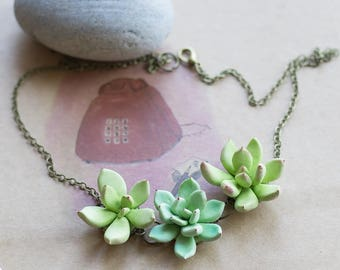 Succulent jewelry - plant necklace - succulent necklace - plant jewelry - terrarium pendant - nature necklace - botanical necklace, garden