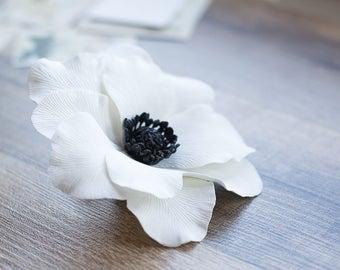 7113e7a25 White anemone flower hair clip - anemone wedding accessories - bridal hair  clip - large flower clip - big flower clip - bridal flower