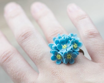 Blue floral ring - blue jewelry - flower ring - forget me nots ring - adjustable ring - bouquet ring - bright colors - blossom ring, garden