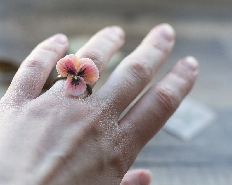 Pansy floral ring flower jewelry viola botanical delicate pink polymer clay romantic