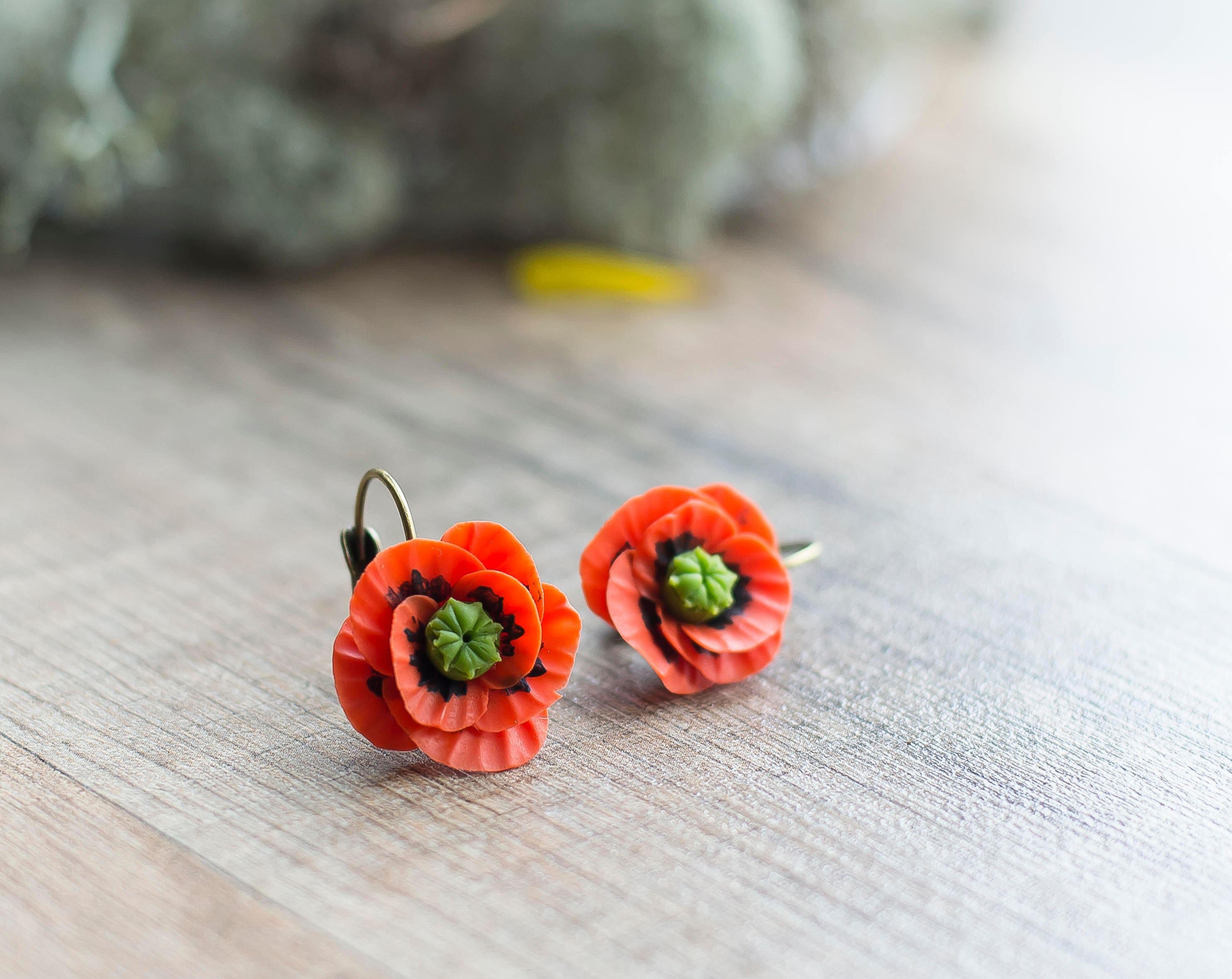 cddc7e1c1 Red poppy earrings flower earrings flower jewelry   Etsy