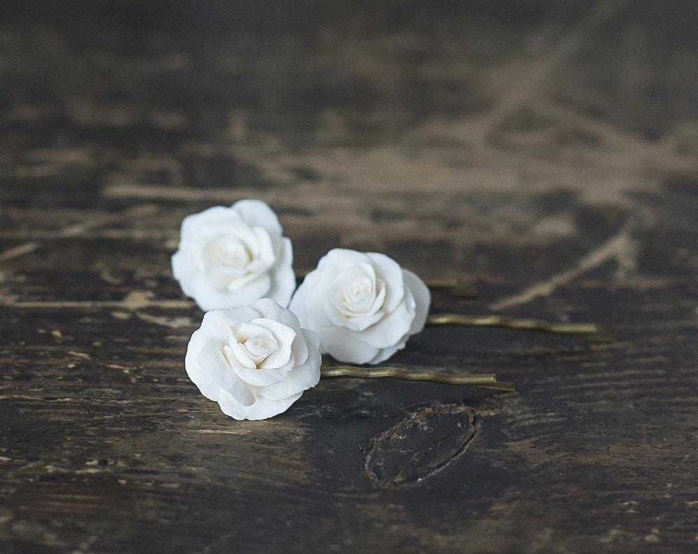 White Rose Flower Hair Pins White Rose Hair Clips Bridal Etsy