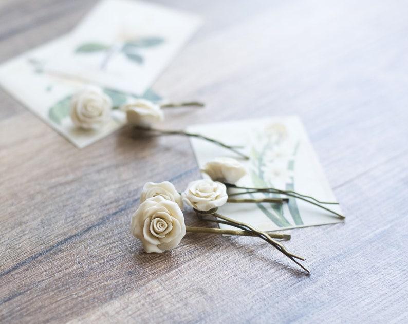 rose flower hair clips rose hair pins neutral Ivory hair clips cream wedding ivory cream hair accessories bridal hair flowers