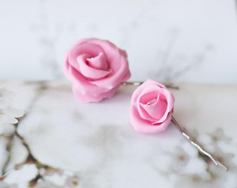 wedding hair piece flower girl bridal pink rose romantic bridesmaid floral unique handmade gift set Shabby chic flower hair clips