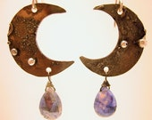 Blue Moon Earrings Moonstone Silver